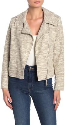 Max Studio Textured Knit Moto Jacket (Petite)