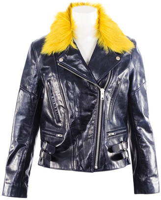 Victoria Beckham Blue Leather Jackets