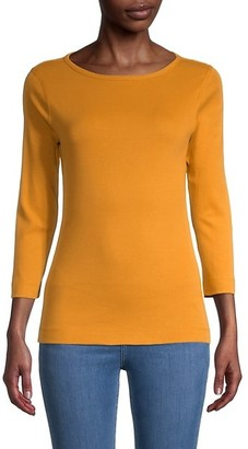 Three Dots Cropped-Sleeve Knit T-Shirt