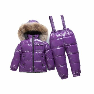 Ujdkcf Winter Children's Clothing Sets Boys and Girls White Duck Down Ski Suit Silver 2T