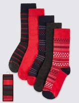Marks and Spencer 5 Pairs Pack Christmas Fairisle Boxed Socks