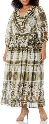 Calvin Klein Women's Plus Size Long Sleeve Maxi Dress with Faux Wrap