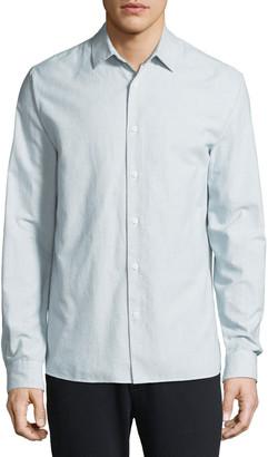 Vince Men's Micro-Stripe Long-Sleeve Button-Front Cotton Shirt