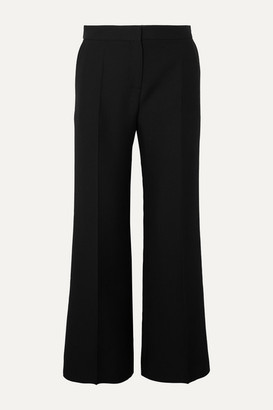 Valentino Wool And Silk-blend Crepe Flared Pants - Black