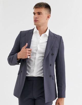 ASOS DESIGN super skinny double breasted suit jacket in black slate