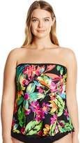 Maxine Of Hollywood Women's Plus Size Summer Bounty Ruffled Tankini with Removable Straps