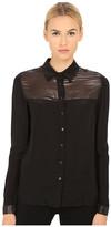 Armani Jeans Silk/Tule Long Sleeve Shirt