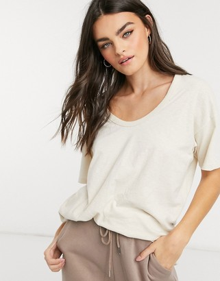 aerie oversized scoop neck t-shirt in ecru