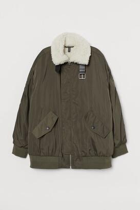 H&M Oversized Bomber Jacket - Green