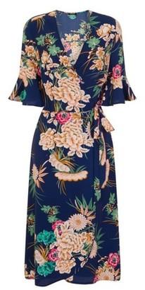 Dorothy Perkins Womens Girls On Film Blue Floral Print Midi Wrap Dress