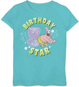 SpongeBob Squarepants Licensed Character Girls 7-16 Patrick 5th Birthday Tee