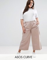 Asos Washed Wide Leg Pant With Button Front