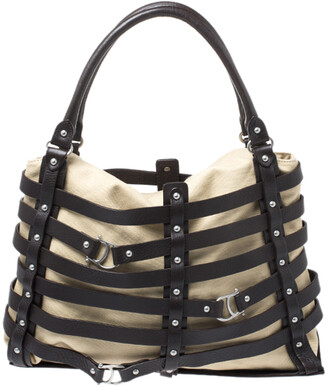 Aigner Brown/Beige Canvas and Leather Cage Tote