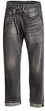 R 13 Women's Faded Crossover Jeans