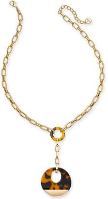 "Alfani Gold-Tone & Tortoise-Look Link Lariat-Necklace, 20"" + 2"" extender"