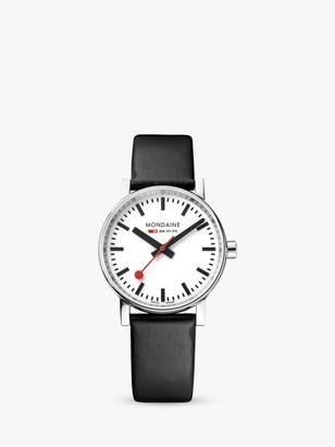 Mondaine MSE.35110.LB Unisex Evo 2 Leather Strap Watch, Black/White
