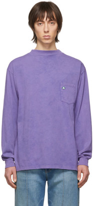 Aries Purple Acid Wash Long Sleeve T-Shirt