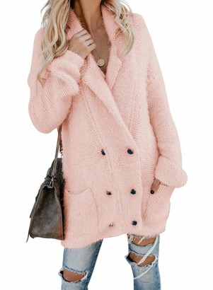 CORAFRITZ Women's Winter Casual Loose Long Sleeve Solid Color Warm Fuzzy Double Breasted Pocketed Cardigan Sherpa Fleece Sweaters Pink