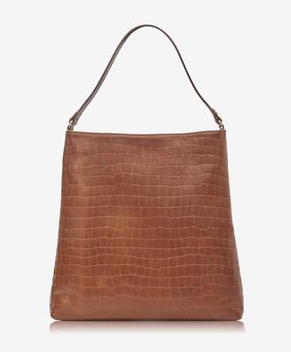 GiGi New York Harlow Hobo, Brown Embossed Nappa Croco Leather