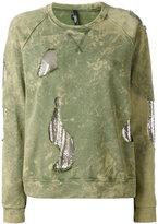 Versus mesh insert distressed sweatshirt - women - Cotton/metal - M