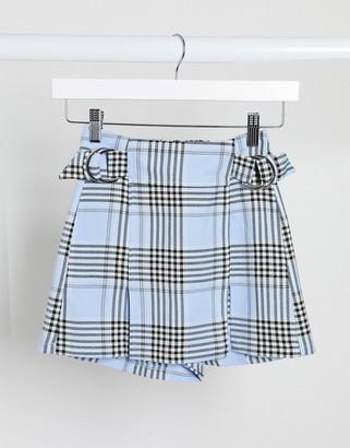 Bershka tartan mini skort in blue