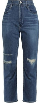 3x1 Colette Distressed High-rise Slim-leg Jeans
