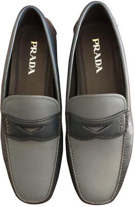 Prada Anthracite Leather Flats