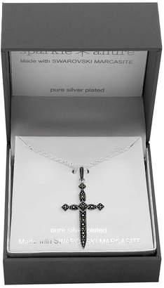 SPARKLE ALLURE Sparkle Allure Gray Marcasite Pure Silver Over Brass 18 Inch Link Cross Pendant Necklace