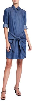 Finley Shane Lyocell Denim Wrap-Front Dress