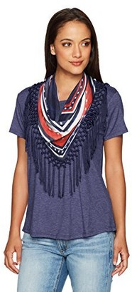 One World ONEWORLD Women's Petite Size Short Sleeve Solid Top with Attached Fringe Scarf
