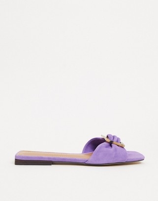 Who What Wear Margaruite buckle flat sandals in purple leather