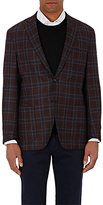 Luciano Barbera MEN'S PLAID TWO-BUTTON SPORTCOAT-RED SIZE 38