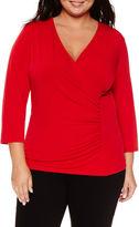 Liz Claiborne 3/4-Sleeve Surplus Top - Plus