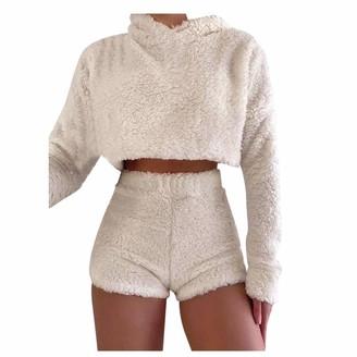 JURTEE Women Plush Long Sleeve Two-Piece Suit Pure Color Fluffy Short Hoodies Tops Shorts Fashion Fleece Hooded Sweatshirt Suit Beige