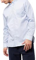 Jaeger Cotton Contrast Textured Shirt, Blue