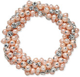 Charter Club Silver-Tone Imitation Pink Pearl and Crystal Cluster Stretch Bracelet, Only at Macy's