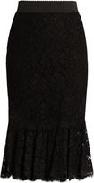 Dolce & Gabbana Cordonetto-lace fluted-hem skirt