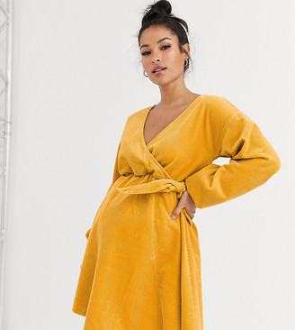 ASOS DESIGN Maternity cord wrap smock mini dress in marigold