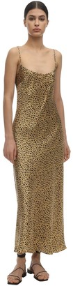 Rixo Holly Matte Leopard Print Satin Dress