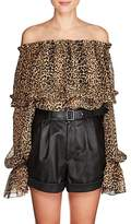 Saint Laurent Women's Leopard-Print Silk Off-The-Shoulder Blouse