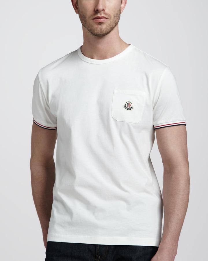 Moncler Flag-Stripe Polo, White