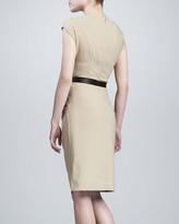 Michael Kors Draped Dress with Belt, Khaki