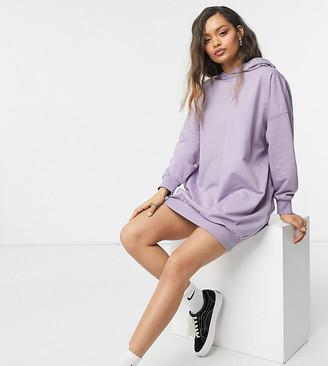 ASOS DESIGN Petite oversized hoodie sweat dress in purple ash