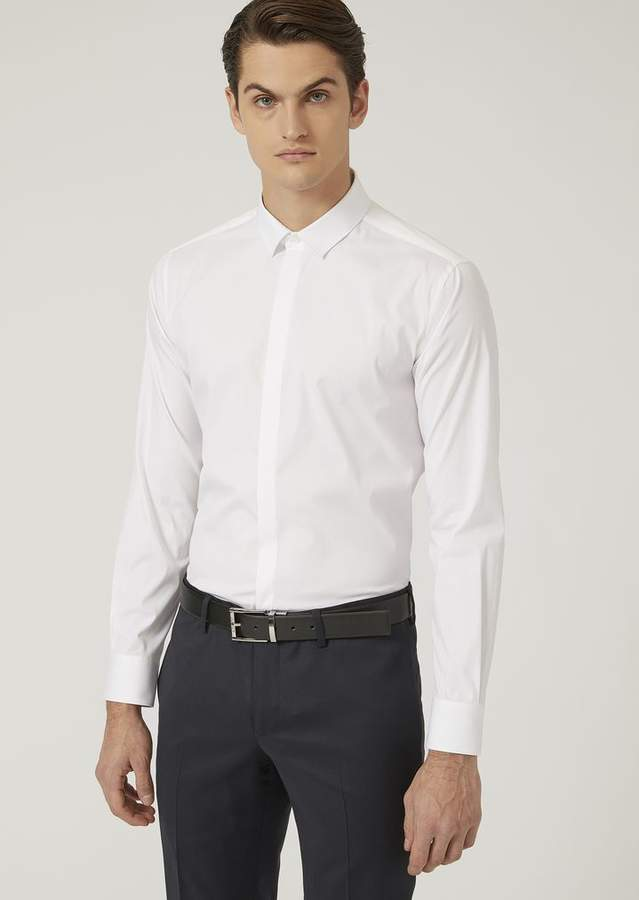Emporio Armani Regular Fit Shirt In Stretch Cotton