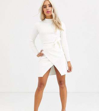ASOS DESIGN Petite co-ord rib mini skirt with wrap detail