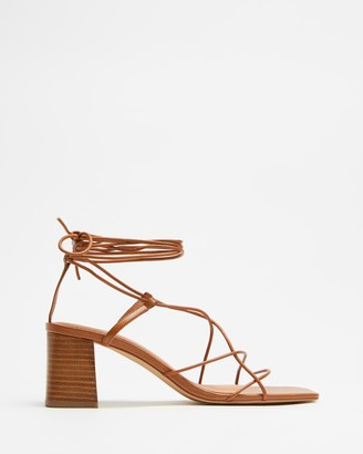 AERE - Women's Brown Ballet Flats - Strappy Ankle Tie Leather Heels - Size 5 at The Iconic