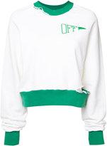 Off-White ripped crewneck sweatshirt - women - Cotton - XS