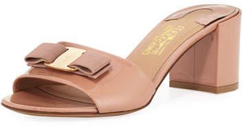 Salvatore Ferragamo Eolie Vara Bow Patent Slide Sandals, New Blush