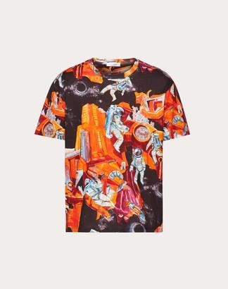 Valentino Infinite City T-shirt Man Orange 100% Cotone L