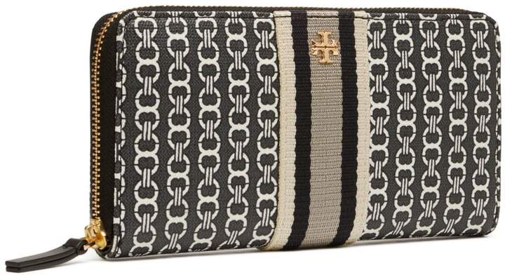 Tory Burch GEMINI LINK CANVAS ZIP CONTINENTAL WALLET